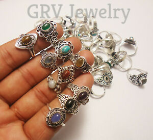 100pcs Rings Wholesale Lot Mix Gemstones 925 Sterling Silver Plated Jewellery