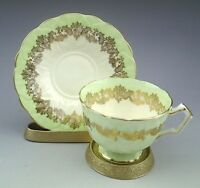 Vintage Aynsley Green Gold Filigree Tea Cup and Saucer