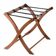Solid Wood Folding Luggage Suitcase Rack Stand in Walnut Solid Classic w/ Straps