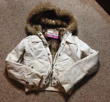 hollister womens fur lined khaki cargo jacket w hood sz small coat full zip Warm