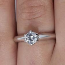 1Ct Round Cut Solitaire Engagement Wedding Promise Ring 14K White Gold Size 5