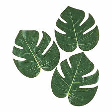 12 X TROPICAL LUAU SMALL PALM LEAVES DECORATIONS POLYESTER JUNGLE DECOR new