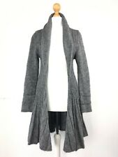 Talia Benson Made in Italy Grey Ribbed Long Cardigan 8/10 UK Wool Mix Lagenlook