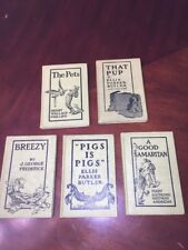 DOLL ANTIQUE CHILDRENS 5 BOOKS PETS SAMARITAN PIGS PUP BREEZY~1909~Doubleday LOT