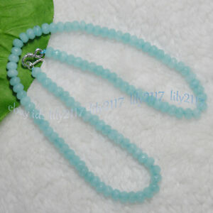 4x6mm Blue Aquamarine Faceted Roundel Gems Beads Necklace Silver Clasp 14-28''