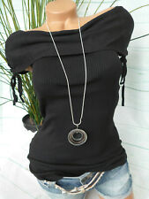 Melrose Shirt Damen Bluse Carmenshirt Gr. 34 bis 44 schwarz (228) NEU