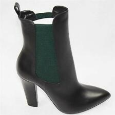 AUTH $995 Gucci Women Black Leaher High Heel Boots 40