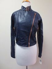 BLANKNYC Navy Vegan Leather Moto Jacket Rose Gold Zippers Small NEW WITH TAGS