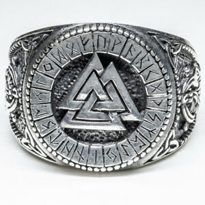 Odin Signet Ring 925 silver Ring Viking Norse Runes Celtic Biker feeanddave