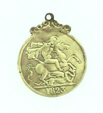 Antique Pendant Stamp Gilt Metal Georgian the III Embossed 1823