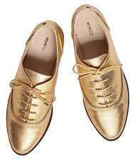 Mimco 👞👞👞 New $199 Gold  Mix & Mingle Lace Up Leather Flats Shoes 39 Or 8