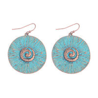 Vintage Carved Bohemian Alloy Round Drop Dangle Ethnic Women Fashion Earrings