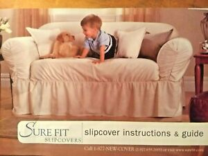 NEW SureFit LOVESEAT SLIPCOVER Sturdy Duck 100% COTTON Fabric Linen/Khaki Color!