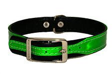BRILLO Reflectante Collar Para Cachorro Negro Acolchado hecho a mano