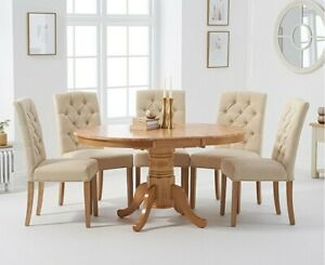 Pedestal Extending Dining Table  With 6 Fabric Chairs 60% Discount!