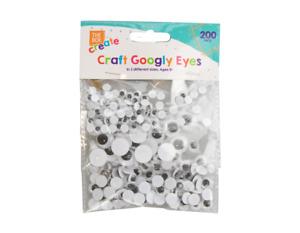 Craft Googly Eyes 200 Pack - Arts Crafts Kids Fun Mixed Sizes Decoration Stick