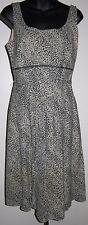 Animal Print Empire Waist Dress Lapis Size M Scoop Neck Linen Blend Black Beige