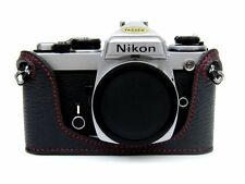 Genuine Leather Half Case for Nikon FM2, FM3A, FE, FE2 Black with Red Stitching