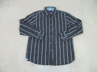 Tommy Bahama Button Up Shirt Adult Large Brown Blue Long Sleeve Casual Mens