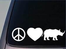 "Peace Love Rhino sticker *H60* 8"" vinyl decal Rhinoceros africa safari zoo"