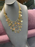 """Vintage Shiny Gold Bohemian Unmarked Coin Necklace Multi Strand 24"""" Inches Long"""