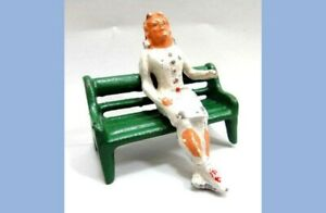vintage 2pc CAST LEAD FIGURE made in usa SITTING WOMAN and PARK BENCH~41/2 marx
