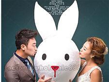 Bunny Rabbit Head Mascot White Wedding party X'mas cosplay fancy dress Costume
