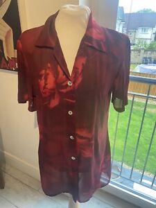 VINTAGE 80'S RED FLORAL SILKY SHEER NEW WAVE SECRETARY BLOUSE UK 12 MEDIUM