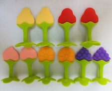10 Baby Teething Toys Teether, Silicone Fruit Shape Tooth Massager 3.5""