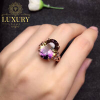 Natural Ametrine Real 925 Sterling Silver Rose Gold Resizable Women Ring
