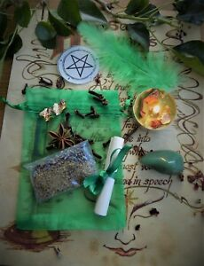 Wealth Spell Kit  Ritual Magic Money Witchcraft Wicca Pagan Handmade Candle