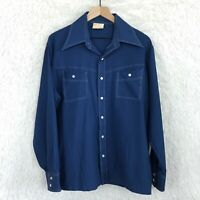 Kings Road Shop Sears Vintage Western Shirt Blue Perma Prest Mens Large