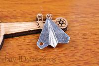 10pcs 17*19mm Charm 3D plane pendant Diy Jewelry For Bracelet Tibet Silver 7136