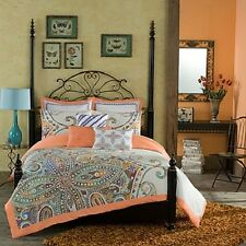 Anthology Annabelle Apricot and Teal 3PC Twin XL Comforter  Set   NIP