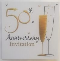 Pack Of 6 Golden 50th Wedding Anniversary Invitation Cards With Envelopes