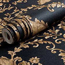 Hoch Klasse Schwarz Gold Luxus Geprägt Textur Tapete 3D Damask Washable PVC