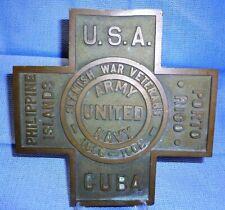 Antique Bronze Spanish American War Veteran Cemetery Grave Marker 1898-1902 Usa