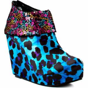 Iron Fist Treasure Box wedges platform boots sequin turquoise blue leopard 80s 4