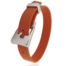 Bracciale cinturino caucciù arancione con passante e chiusura a fibbia argento