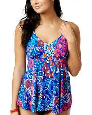 Swim Solutions Plus Size 18w Blue Floral Underwire Tankini Swimsuit Top Only