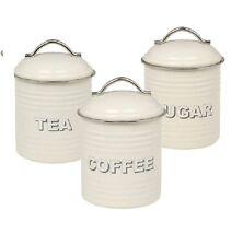 Vintage home cream enamel tea coffee sugar jars canisters storage retro