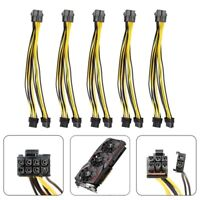 5X((5-pack) PCI-E 8-pin to 2x 6+2-pin Power Splitter Cable PCIE PCI Express 2F3)