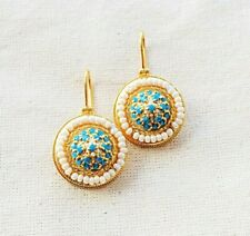 Fascinating Turquoise & Pearl Vermeil 14k Gold Over Sterling Silver Earring