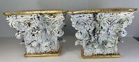"Pair Acanthus Leaf Capital Wall Brackets Corbel Sconce Vintage 6.5""x 8""x 4"" deep"