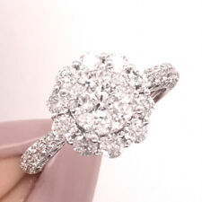2.05ct Floral Round Brilliant Cut Diamond Ring in 14k White Gold