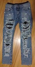 JEANS DENIM DOLCE GABBANA SIZE 50 MAN WITH SILK BLACK TROUSERS INSIDE RUNWAY