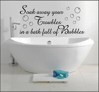 BATHROOM WALL ART STICKER QUOTE DECAL SOAK AWAY BATH BUBBLES HOME DECOR SAYINGS