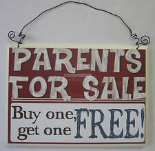 Rustic Country Novelty Wooden Wall Sign Parents For Sale Buy one Get one Free