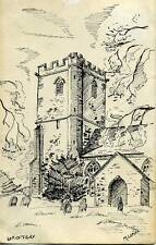 Up-Ottery Church Devon 1980 Marcus Leates sketch postcard