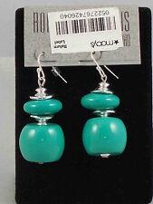 Robert Lee Morris SOHO Polished Silvertone Turquoise Resin Double Drop Earrings
